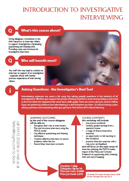 Training - Introduction to investigative interviewing